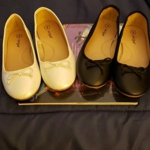 Cat and Jack size 3 Flats black and white bundle